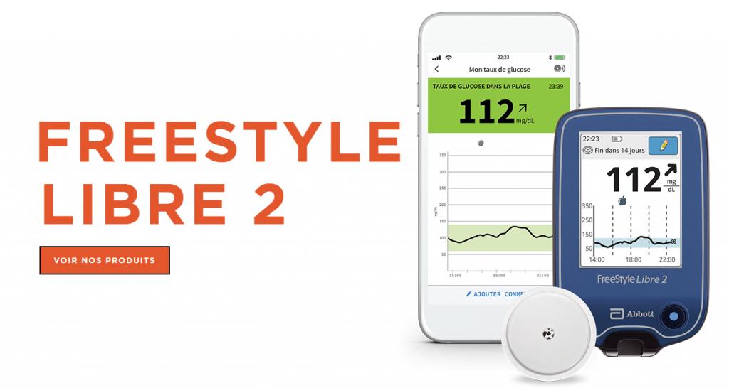 Diapo 2 : Une image avec écrit Freestyle Libre 2 avec un smartphone et l'application, un capteur et le boitier qui accompagne l'innovation