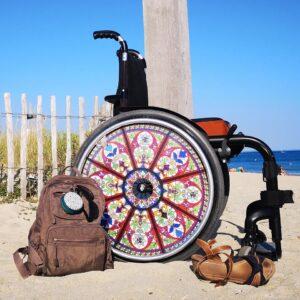 Photo d'un fauteuil roulant qui dispose d'une flasque Showheel