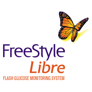 Le logo de Freestyle Libre avec un papillon orange