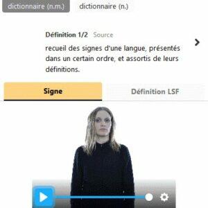 Exemple d'utilisation de Bulle Elix qui propose une définition écrite et un définition LSF