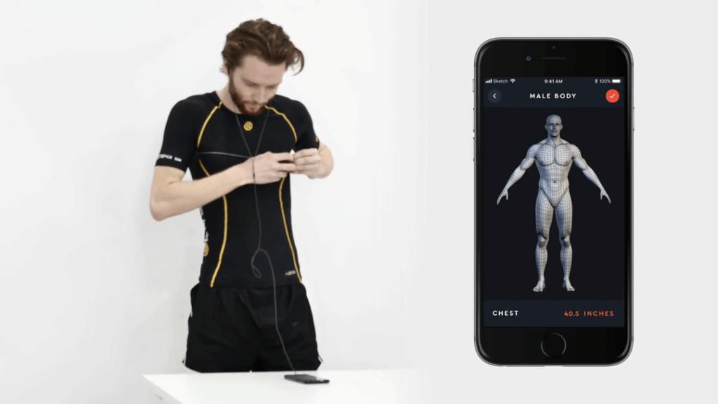 Diapo 2 : Homme entrain de se mesurer le tour du torse et un smartphone avec l'application accompagnant Macaron