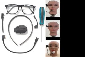 Le dispositif BMconnect composé de lunettes et des capteurs à mettre dessus, plus les trois types de capteurs : optique, mécanique et souffle