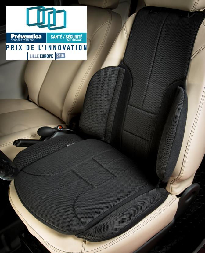 Diapo 3 : Une photo du coussin pour les lombaires avec l'option pour l'assise, c'est un ensemble qui se met sur le siège de la voiture