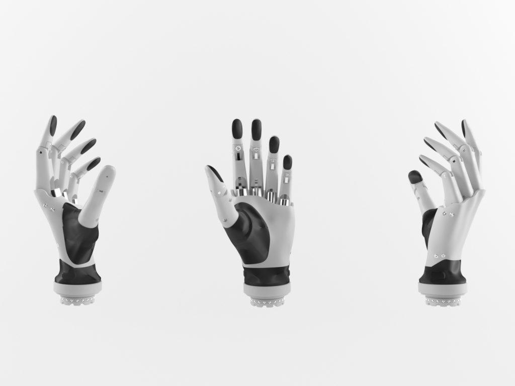 Diapo 2 : Trois vues différentes de la main Esper Bionics avec un fond bland