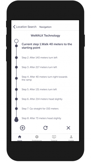 Diapo 2 : Smartphone avec l'application We Walk dessus