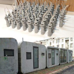 Deux images : en haut, le bouchon imprimé en 3D pour les aspirateurs médicaux, les maisons en impression 3D permettant le repos du personnel soignant