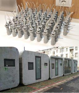 Photo en deux parties : valves pour appareils respiratoires imprimés en 3D et petite maison imprimé en 3D en 2 heures en dessous