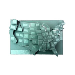 Carte des États-Unis en 3D, où les états sont écrits en braille
