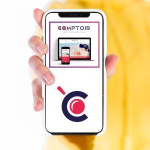 Image d'un smartphone avec le Comptoir des Solutions des solutions sur le smartphone