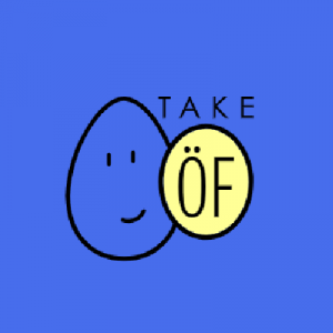Logo de Take Of, un oeuf souriant en dessin