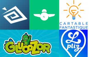 Les 5 logos des applications présentées dans l'article dans l'ordre : Be My Eyes, Rogervoice, Le Cartable Fantastique, Glucozor et Lpliz