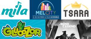 Image contenant les 5 logos des jeux présentés dans l'article : Mila, Mel City, Tsara, Glucozor et A Blind Legend
