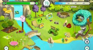 Image du jeu Glucozor où on découvre le village du dinosaure avec toutes les activités disponibles