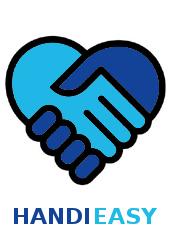 Logo de Handieasy : deux mains qui se serrent formant un coeur avec un bleu clair et un plus foncé