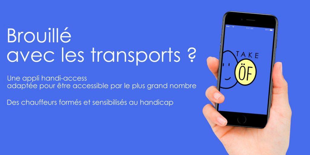 Diapo 3 : Image avec comme titre 'brouillé avec les transports' et un smartphone avec le logo de take of