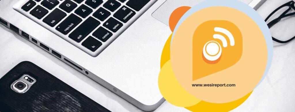 Diapo 2 : Image avec un ordinateur en arrière-plan et l'adresse du site Wesireport