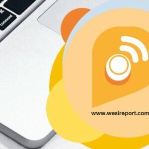 Image avec un ordinateur en arrière-plan et l'adresse du site Wesireport