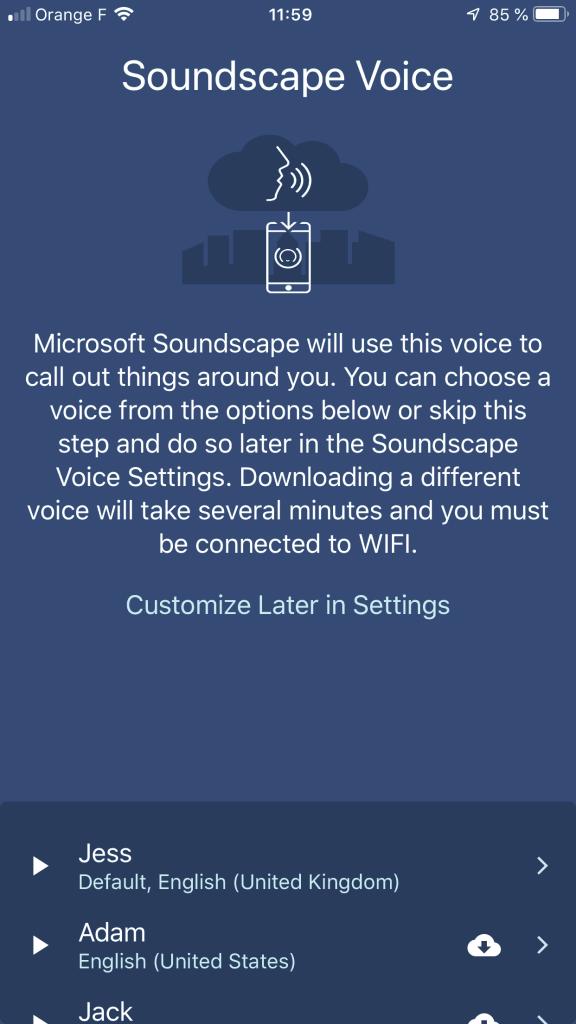 Diapo 2 : image de l'application vous permettant de choisir le type de voix qui vous parle dans le casque