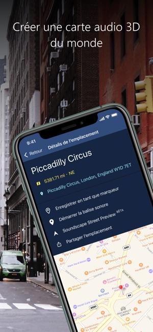 Diapo 6 : Image de l'application Soundscape sur un smartphone