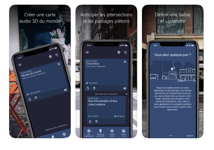Diapo 7 : Image des fonctionnalités l'application Soundscape sur un smartphone
