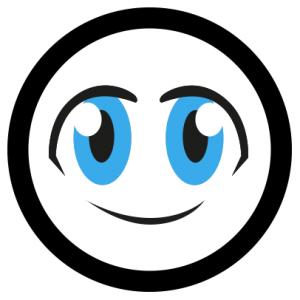 Le logo de l'olgaphone, un smiley avec deux grands yeux bleus