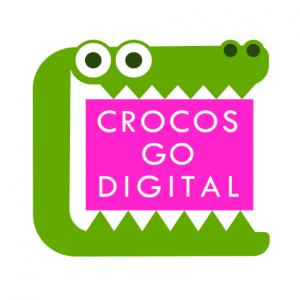 Le logo de Crocos Go Digital, un dessin de crocodile avec la bouche ouverte et écrit sur fond rose «Crocos Go Digital»