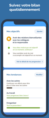 Diapo 3 : Capture d'écran de l'application du suivi des bilans journalier