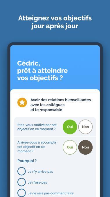 Diapo 3 : Capture d'écran de l'application de la page de réalisation d'objectif ou non