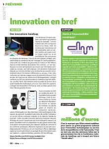 Exemplaire du magazine être page 56 du numéro 160 avec un article sur le CES, l'importance de l'accessibilité numérique