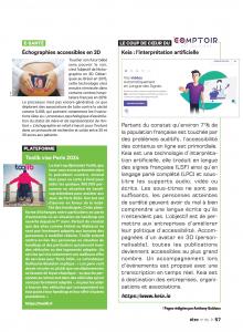 Exemplaire du magazine être page 57 du numéro 160 avec un article sur l'echographie 3D, Toolib et Keia