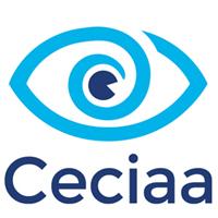 Logo Ceciaa un oeil en bleu avec écrit Ceciaa en dessous