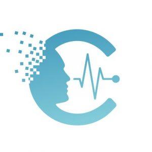 Logo de Chronolife : un C bleu avec une tête et un encéphalogramme