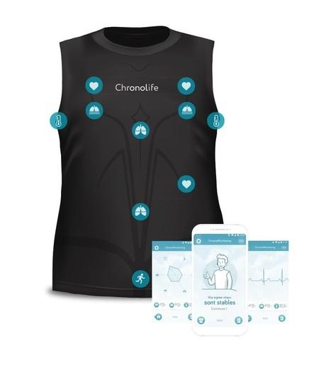 Diapo 2 : Le Tshirt  avec où sont positionnés les capteurs ainsi que des captures d'écran de smartphone de l'application