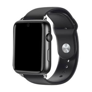 La montre M-Line vu de profil tout en noir avec l'écran en forme rectangulaire noire