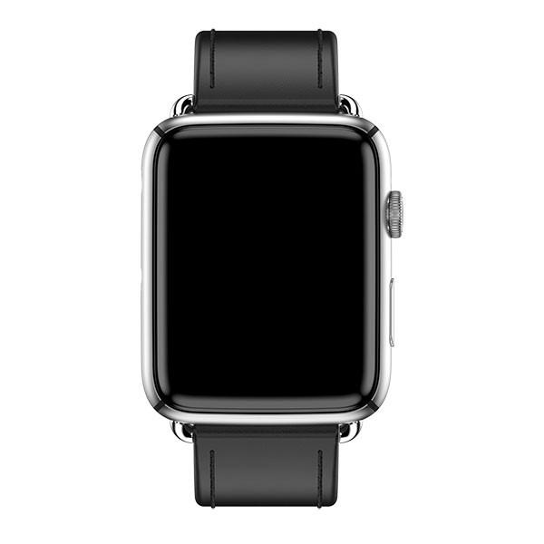 Diapo 2 : La montre M-Line vu de face tout en noir avec l'écran en forme rectangulaire noire