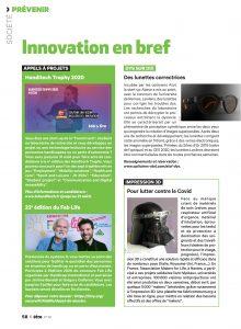Page du magazine être avec lexilens, l'impression 3D, le handitech tropy et la 23ème édition du Fablife d'handicap international