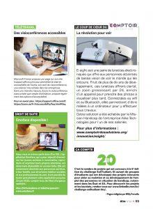 Page du magazine être avec Esight, Emoface et un petit article sur l'accessibilité du logiciel de Teams de Microsoft