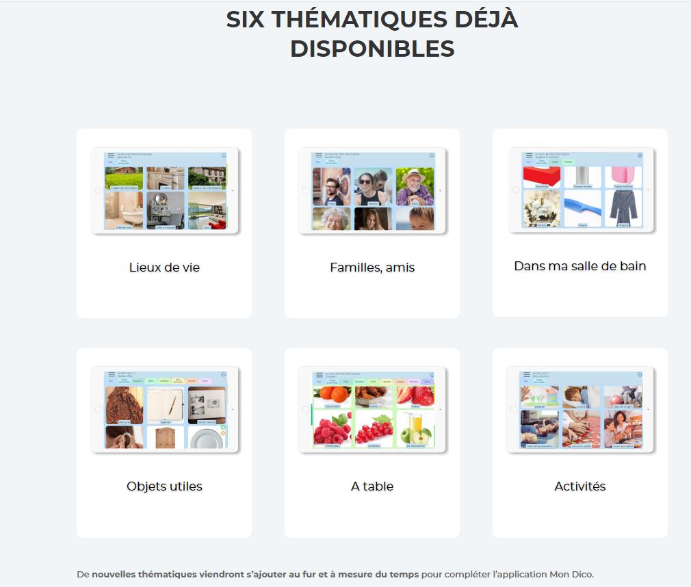 Diapo 3 : Les 6 thématiques - Lieux de vie - Familles, amis - Dans ma salle de bain - Objets utiles - A table - Activités