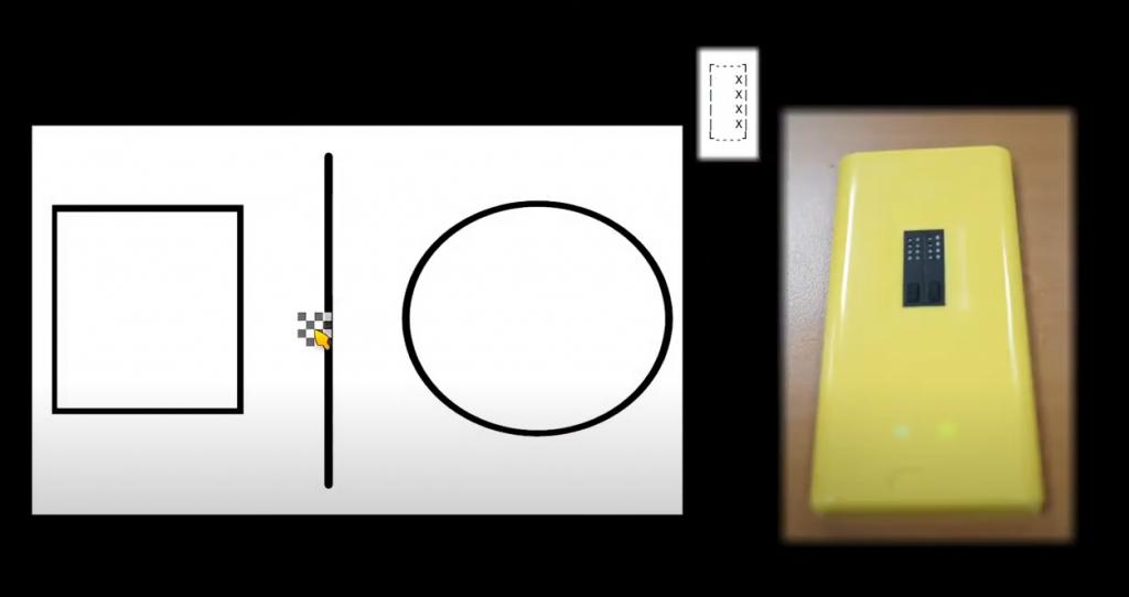 Diapo 4 : Une capture d'écran de tactos avec le curseur et sur la droite la barrette en braille et sa réaction
