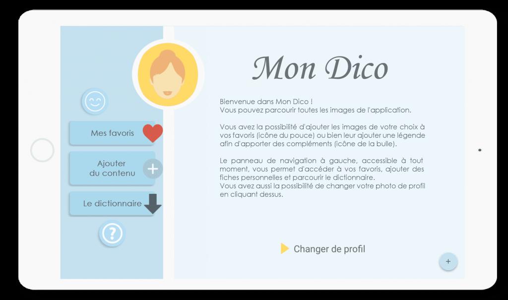 Diapo 2 : Menu d'accueil de l'application Mon Dico sur tablettes