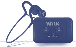 Diapo 3 : Le dispositif Walk By Resilient, un boitier avec un bouton + et - et les capteurs de conduction osseuse