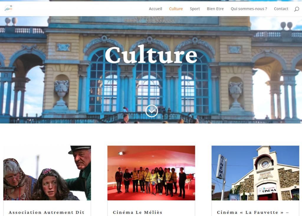 Diapo 2 : Capture décran du site jolie de la catégorie culture, on peut descendre vers le bas et voir les différentes activités possibles