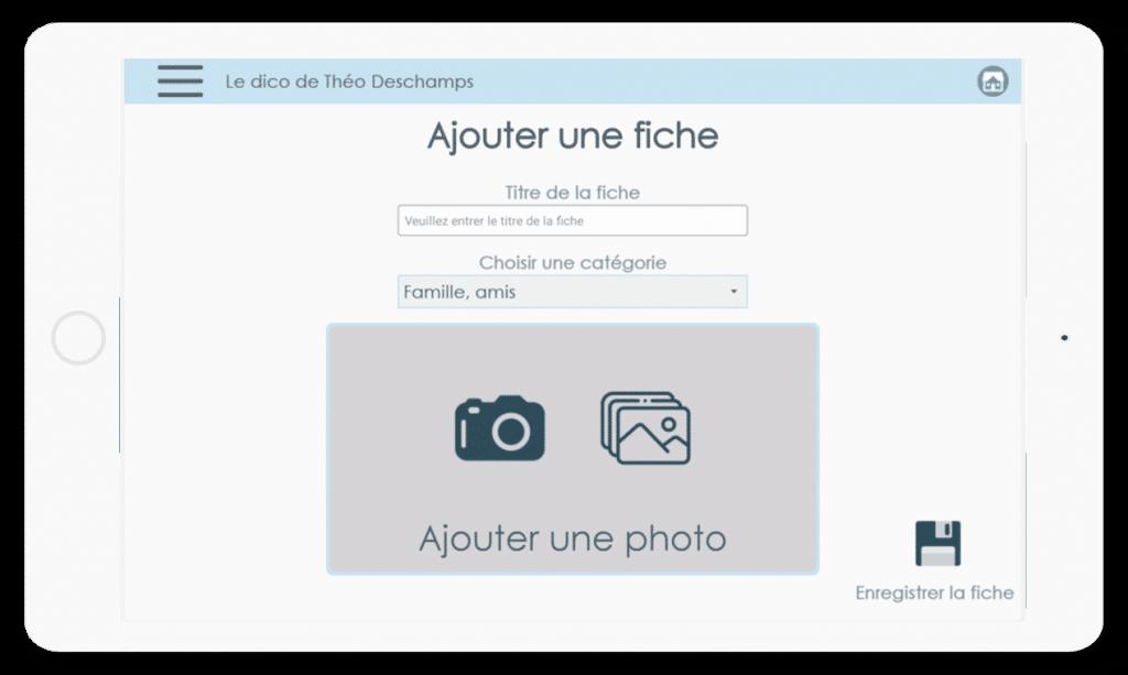 Diapo 4 : La page de personnalisation d'une fiche de communication comprenant une image personnalisable et un titre à lui donner