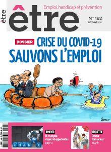 """Couverture du magazine Être numéro 162, le titre est """"crise du Covid-19 : sauvons l'emploi"""" avec une bd représentant les membres du gouvernement dans un bateau de sauvetage"""