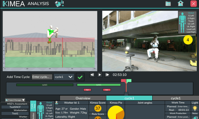 Diapo 3 : Une image du logiciel de Kimea 360, on peut voir sur la gauche la modélisation 3D du mouvement effectué sur la vidéo à droite
