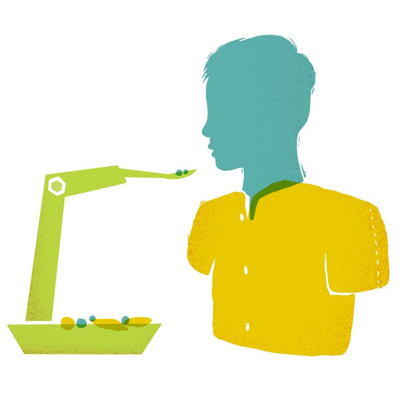 Diapo 3 : Un dessin du bras robotique et d'une personne l'utilisant