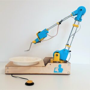 Photo du bras robotique makergo en bleu et jaune