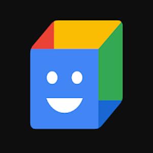 Logo de action block un cube avec un face bleu et un smiley et des face