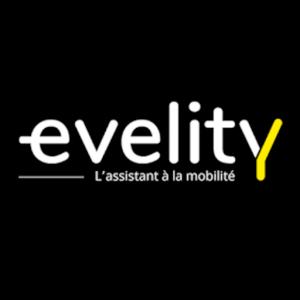 Logo Evelity écrit en blanc avec le y en jaune sur fond noir. Le sous titre est «l'assistant à la mobilité»