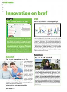 """Page 60 du magazine être """"Innovation en bref"""", on y retrouve notamment, Leric pour la traduction en falc, les lieux accessibles de google maps, , le tour de cou de panda guide"""